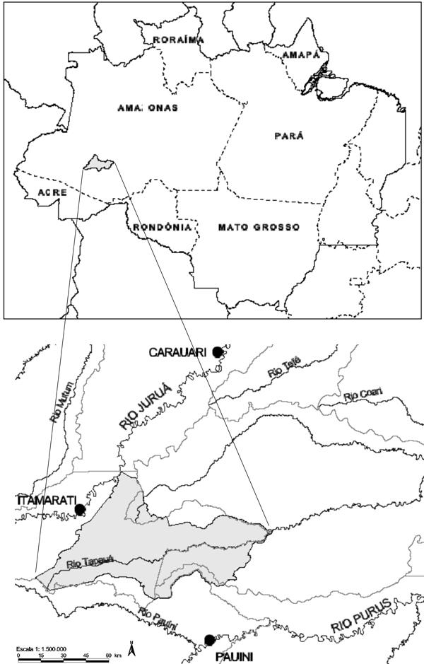 Figura 1 - Localização da Reserva Indígena Deni na Bacia Amazônica. 0f857bbf1238d
